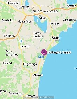 För att ni ska få lite förståelse så ligger Tofta gård ungefär 7km utanför Åhus.  För att kartan på bilden ska säga något så kan jag säga att det är ca:7km mellan Åhus och Tofta gård.