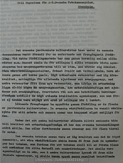 Ett brev från Svalövs utsädesförädling till Svenska tobaksmonopolet.