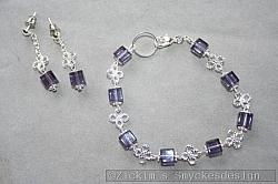 SE054 Flower cube: Armband + örhängen med lila glaskuber...85:- 55:-