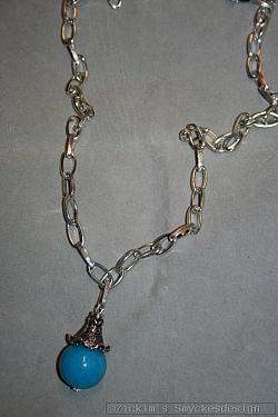 HA150 Blue Jade: Halsband (72 cm) med en stor blå Jade pärla...105:- SÅLD