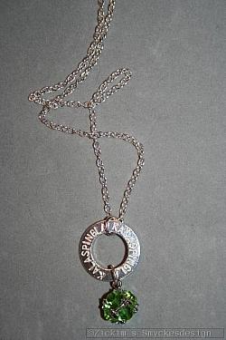 NA033 Kalaspingla: Halsband med en stansad ring med texten
