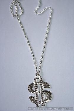 HA171 Big dollar: Halsband (75 cm) med ett stort dollartecken (4x5 cm)...85:- SÅLD
