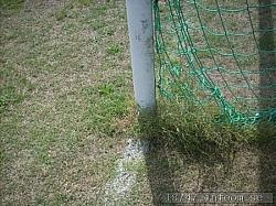 Det är ovanligt numera med fasta målställningar, men här har man det. Risken är förstås att gräset blir extra slitet framför mål då de flesta vill vara där.