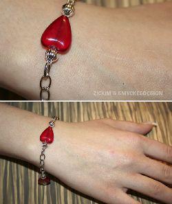 AR010 Red Heart: Armband med röda hjärtan och silverkulor...70:- SÅLD