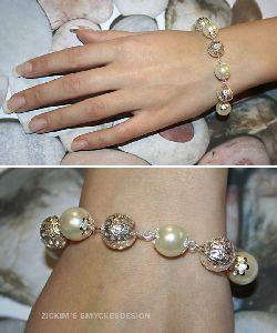 AR005 Silverboll: Armband med stor champange färgad vaxpärla och silverboll...90:- SÅLD