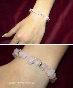 AR019 Elastic Rose: Armband med elastiskt band med rosenkvarts stenar...70:- SÅLD