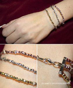 AR021 Threerow: 3 radigt armband med facetterade pärlor i rosa /silver /guld...75:- SÅLD