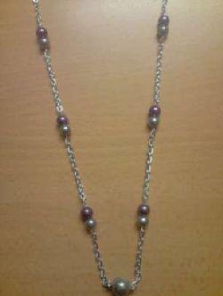 HA002 Bigsilver: Halsband med pärlor i silver och lila i kedja...69:- SÅLD