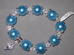 AR112 Big blue shell: Elastiskt armband med stora blå pärlor  samt en snäcka som berlock...SÅLD För att se en större bild, klicka på denna länk.