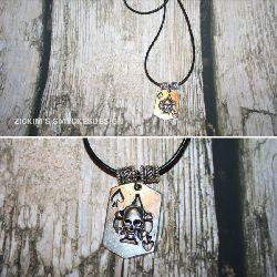KI003 Death card: Halsband med spader ess/döskalle hänge...85:- SÅLD