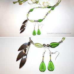 SE008 Greensilver: Halsband med silverhänge och gröna pärlor + tillhörande örhängen...149:-SÅLD