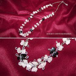 HA003 Blackspot: Halsband med rosenkvarts och onyx stenar på kedja...145:- SÅLD  För att se en större bild, klicka på denna länk.