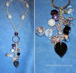 HA045 Chain rattle: Halsband med vita krackelerade pärlor samt hänge med olika pärlor och berlocker...95:- SÅLD  För att se en större bild, klicka på denna länk.