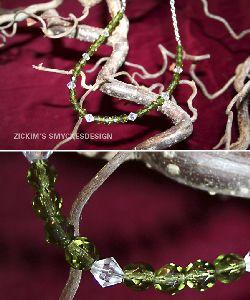 HA013 Crystaldrop: Halsband med olivgröna och kristallklarapärlor på kedja...69:-SÅLD