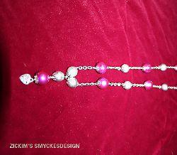 HA014 Candyheart: Längre halsband (73 cm) med rosa och silver drizzle pärlor på kedja...130:-SÅLD
