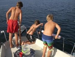 Peter, Viktor och Erik fångar fisk ...