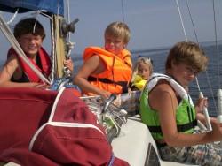 Viktor, Erik, Emelie och Peter på Jungfrufjärden