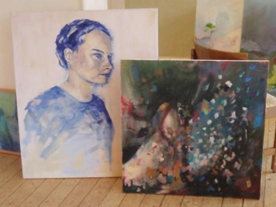 Två oljemålningar av Johan Jönsson.