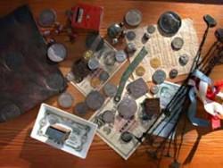 Myntklubbens affisch som spreds 3-4 veckor innan utställningen. Den visade ett komprimerat urval av olika utställningsföremål