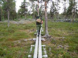 Från parkeringen vid Hästskoforsen finns vandringsled upp till Dellik, ca 5 km. Vi hade tänkt fiska i Dellikälven, men tyvärr fanns fiskekort bara tillgängligt i Arjeplog..... vilket vi inte informerat oss om innan. Så det fick bli fiske enbart i Laisälven