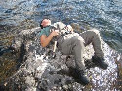 En tupplur i gassande sol..... ingen fisk som nappar nu i alla fall.....